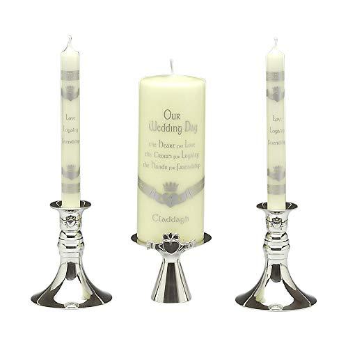 Claddagh Unity Candle Set - Mullingar Pewter Claddagh Unity Candlestick Set