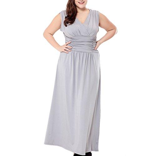 talla baile para Vestido Line de gris Gasa Vestidos 16 de Maxi de noche 28 grande A mujer OAWWtTn