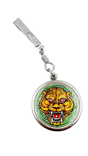 Lp' pern wat bangpra pendant green tiger face for holy charm & life protection with pocket / tie clip