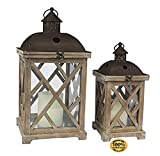 ArtMuseKits Decorative Wooden Hurricane Candle Lantern Set, Use As Decoration for Birthday Parties, a Rustic Wedding Centerpiece, or Create a Relaxing Spa Setting, for Indoor or Outdoor Use