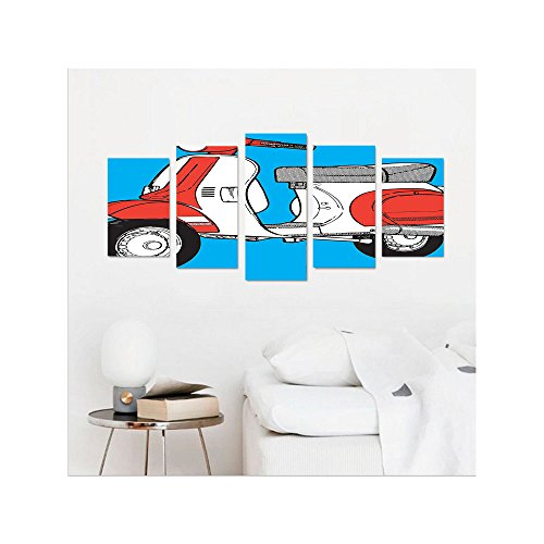 Liguo88 Custom canvas Funky Decor Cute Scooter Motorcycle Retro Vintage Vespa Soho Wheels Rome Graphic Print Wall Hanging for Bedroom Living Room Blue Red White (Print Multi Soho)