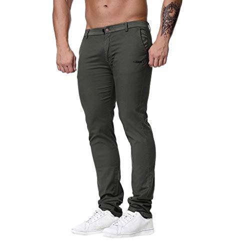 Men's Skinny Stretchy Pants Summer Casual Regular Slim Fit Modern Lightweight Trousers (Asian Size:XXXL, Gray) ()