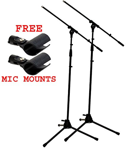 ASC (2) Pro Audio Mobile DJ Microphone Stands Adjustable Boom Stage or Instrument with (2) Free Mic Holder Clips