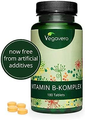 Complejo Vitamina B Vegavero® | El Único con Colina + Inositol | La Dosis Más Alta | Vegano | 180 Comprimidos | B2 + B5 + Niacina + Piridoxina + Ácido ...