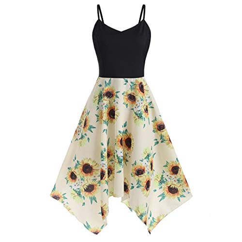 XVSSAA Women's Large Size Camisole Dress, Ladies Sleeveless Sunflower Print Asymmetric Hem Beach Dress Yellow