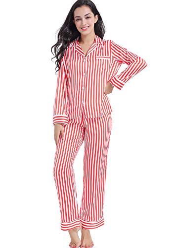(Serenedelicacy Women's Silky Satin Pajamas Long Sleeve PJ Set (X-Small / 0-2, Stripe Bright Cerise Ivory))