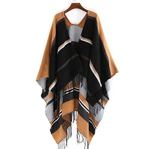 Carreaux Automne Echarpe Beatayang Chaud Hiver Chale Noir Femme Cape Poncho Tassel EwYq5HCaxq
