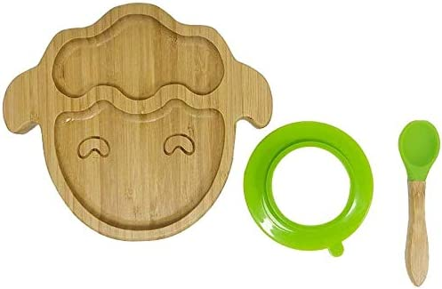 Stay Put Plate TAIPPAN Baby Toddler Bamboo Sheep Plate with Silicone Suction /& Spoons Portable Non-Slip Feeding Plate Bamboo Baby Plates for Toddlers Babies Kids