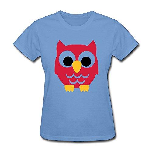 FACAI Women's Owl Kids Cotton Crew Neck Short Sleeve T-Shirt Tee Sky XS