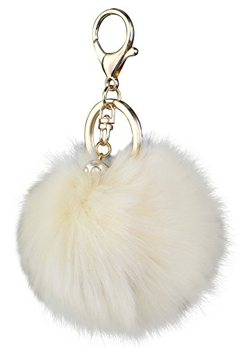Ivory Chain (Key Chain Accessories for Women - Ivory Faux Fur Ball Charm and Artificial Pearl with Key Ring)