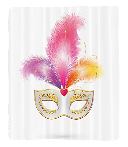 North West Baby Halloween Costume (Chaoran 1 Fleece Blanket on Amazon Super Silky Soft All Season Super Plush Masquerade Decorations Collection Golden Carnival Mask with Feathers Mystery Masque Costume Classic Design Fabric et Pink Ora)