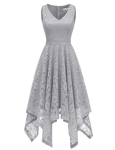 Dressystar 0036 Vintage Lace V-Neck Asymmetrical Handkerchief Hem Cocktail Formal Swing Dress M Grey