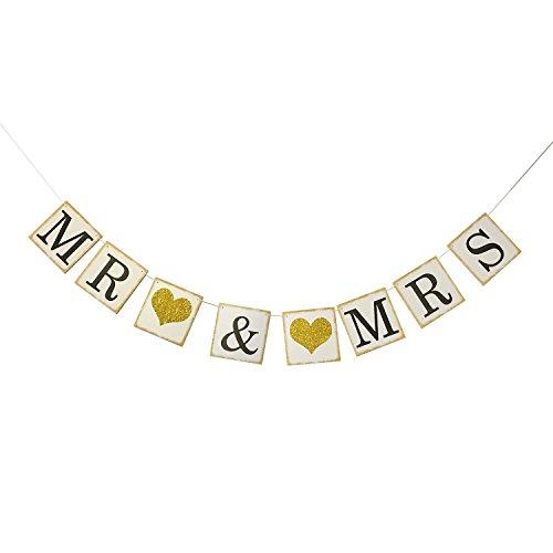 Cheap  Partyprops MR MRS Bunting Banner Gold Glitter Heart for Wedding Bridal Shower..