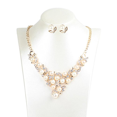 Price comparison product image Fheaven Women's Elegant Pearl Diamond Flowers Necklace Statement Earrings Jewelry Set (Gold)