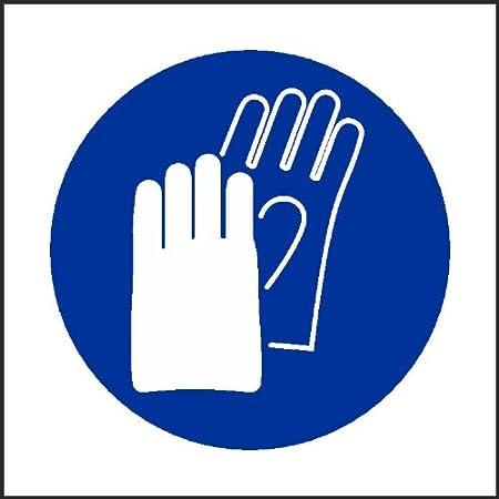 Uk 100mmx100mm Wear Gloves Sign Self Adhesive Sticker Vat Invoice