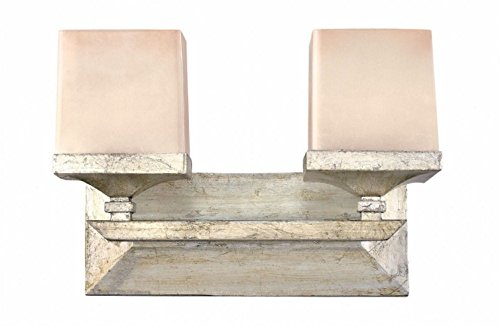 Fredrick Ramond FR59192SLF Two Light Silver Leaf Painted Soft Fawn-Colored Glass Vanity (San Simeon Light Two)