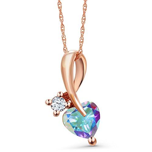 Gem Stone King 1.06 Ct Heart Shape Mercury Mist Mystic Topaz 10K Rose Gold Pendant ()