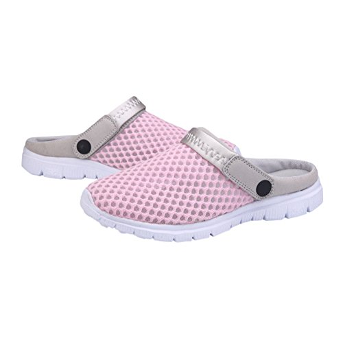 Zhuhaixmy Men Women Unisex Summer Breathable Mesh Net Cloth Slippers,Beach Hollow Out Sandals Outdoor Sports Casual Couples Shoes Pink
