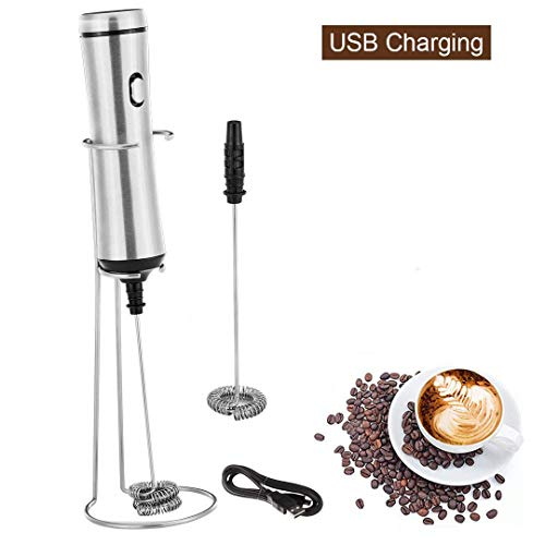 Milk Frother Handheld Battery Operated Electric Foam Maker For Coffee, Latte, Cappuccino, Hot Chocolate, Stainless Steel Whisk, Stainless Steel Stand Include USB Rechargeable Coffee Frother set