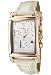 Emporio Armani Men's AR0296 Chronograph Silver Dial White Leather Watch