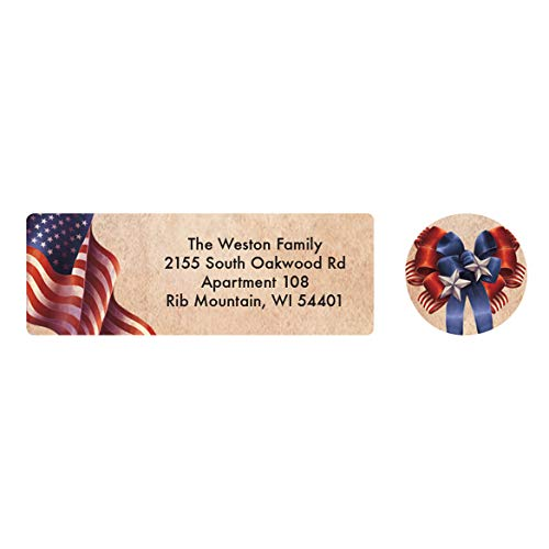 - Personalized Patriotic Blessings Address Labels & Seals - Includes a Set of 20 Self-Stick Sheeted Labels Sized at 2 ½ in. Long x 1 in. Wide and Matching Seals