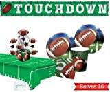 Football Party Supplies - Plates Cups Napkins Tablecloth Banner and Centerpiece for 16 People - Perfect Football Party Decorations for Birthday or Tailgating!