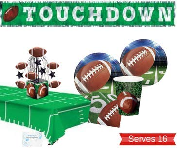 - Football Party Supplies - Plates Cups Napkins Tablecloth Banner and Centerpiece for 16 People - Perfect Football Party Decorations for Birthday or Tailgating!