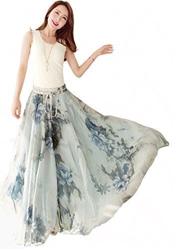 (Afibi Womens Blending Chiffon Retro Long Maxi Skirt Vintage Dress (Large, Pattern 5) )