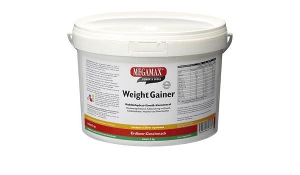 MEGAMAX - Weight Gainer - Suplemento para ganar peso y masa muscular - Fresa - Solo un 0,5% de grasa - 3 kg: Amazon.es: Deportes y aire libre