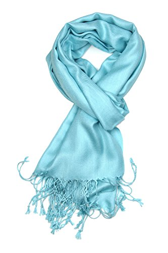 Achillea Large Soft Silky Pashmina Shawl Wrap Scarf in Solid Colors (Light Turquoise) - Light Turquoise Color