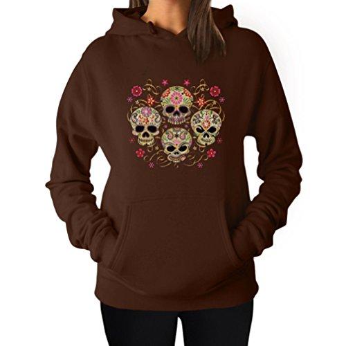 Rose Eye Sugar Skulls - Day of The Dead Gothic Women's Hoodie Large Brown (Skull Hoodie Women)