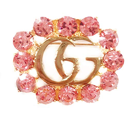 (Women's Fashion Delicate Hollow-Out Crystal Brooch Alphabet Brooch (GG-Pink) )