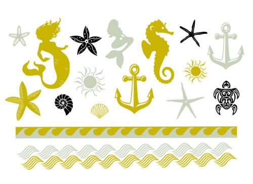 "Metallic Beach Temporary Tattoo Set - Mermaids, Anchors, Starfish Accessories - Flash Tattoo Set - Gift - Includes Two 8""x5"" Sheets - 34 Total Tattoos"