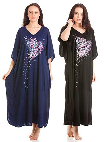 La Marquise 2 Pack Womens Nightwear Heart Print Kaftan Navy & Black