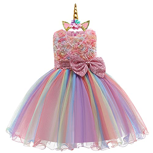 3D Flower Little Girl Princess Dress Rainbow Tutu Birthday Wedding Party Dress Toddler w/Headband