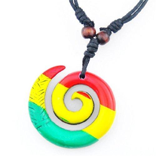 Adjustable Black Mariners Cord Bob Marley Necklace with Maori Pendant