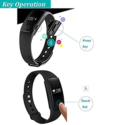 Pashion Fitness Tracker with Heart Rate Monitor ,Waterproof Smart Wristbands Activity Pedometer Sleep Calorie Monitor Touch Screen Fitness Watch for IOS & Android System