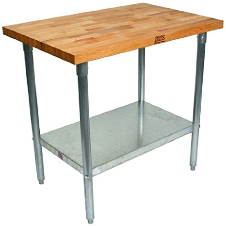 John Boos HNS01 Maple Top Work Table with Galvanized Base and Shelf 36 x 24 x 1-3//4