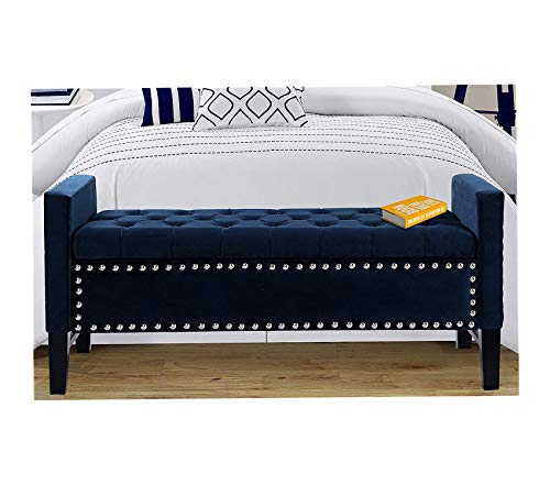 (Icоnic Hоmе Deluxe Premium Collection Neo Traditional Velvet Tufted Storage Bench Navy Decor Comfy Living Furniture)
