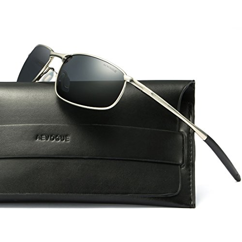 AEVOGUE Polarized Sunglasses For Men Rectangle Metal Frame Retro Sun Glasses AE0535 (Silver&Black, - Sunglasses Quality