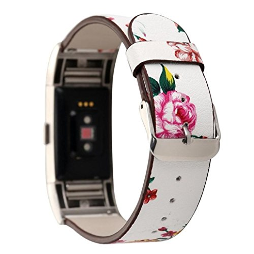 Price comparison product image Boofab Fitbit Charge 2 Band,  Women Girls Fashion Floral Soft Leather Replacement Accessories Bands Wristband for Fitbit Charge 2 (A)