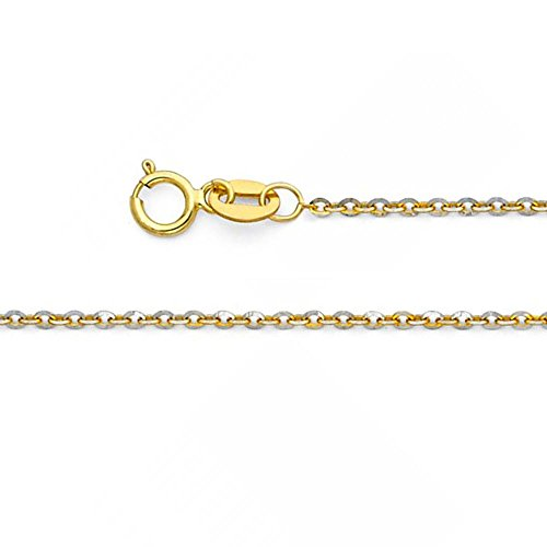 (American Set Co. 14k Solid Two Tone Gold 1.4mm Diamond Cut Rolo Cable Chain Link Necklace with Spring Ring Clasp - 18