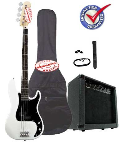 Electric Bass Guitar Pack with 20 Watts Amplifier, Gig Bag, Strap, and Cable, White Other