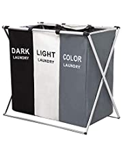 3 Section Laundry Basket, Foldable Laundry Hamper/Sorter with Aluminum Frame, Washing Clothes Storage for Home, Dormitary (Dark+Light+Color)