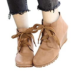 Women's Casual Lace Up Low Wedge Heel An...