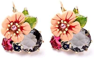 Kaariag Punkin Flower Shape Dew Crystal Colored Glaze Earring