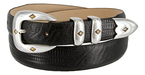 Lizard Dress Belt (Tuscon Gold Italian Calfskin Leather Men's Designer Dress Golf Belt - Lizard Black,)