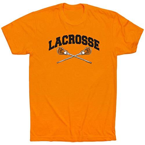 Sticks Lacrosse Crossed (ChalkTalkSPORTS Lacrosse Crossed Sticks T-Shirt   Guys Lacrosse Tees Orange   Adult Small)