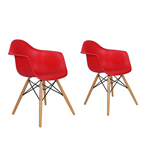 Charles Ray Eames Modern Armchair Side Chair with Wooden Legs, Reception Seat Set of Two