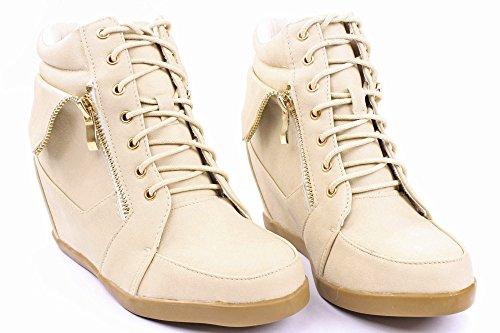 Jjf Schoenen Voor Altijd Gladys-34 Damesmode Kunstleer Lace-up Hoge Top Wedge Sneaker Slofjes Beige